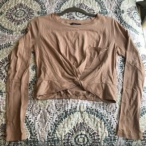 Tan long sleeve cropped top